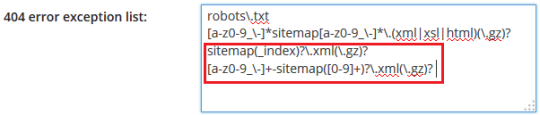 404 error exception list for Yoast's xml sitemap