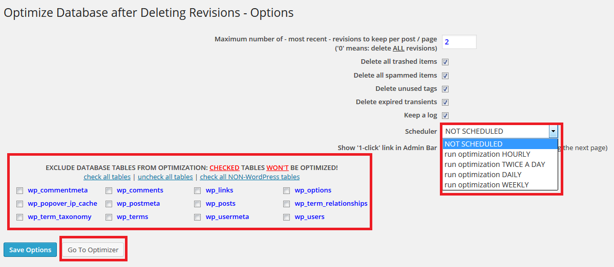 limit wordpress revisions with optimize database after deleting revisions plugin