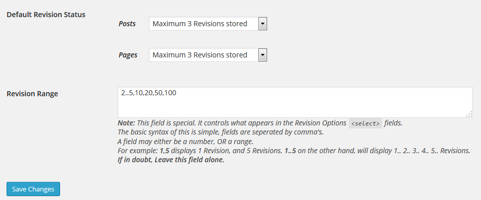 Revision Control plugin to limit WordPress revisions