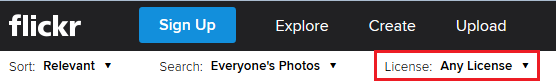 Flickr license type