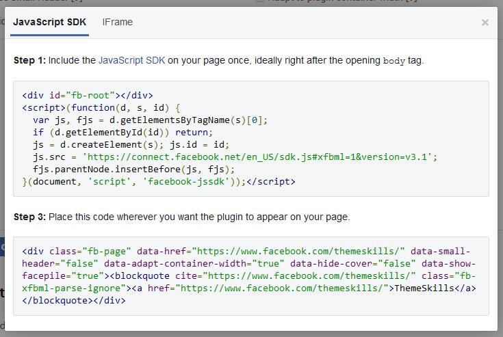 facebook page plugin code