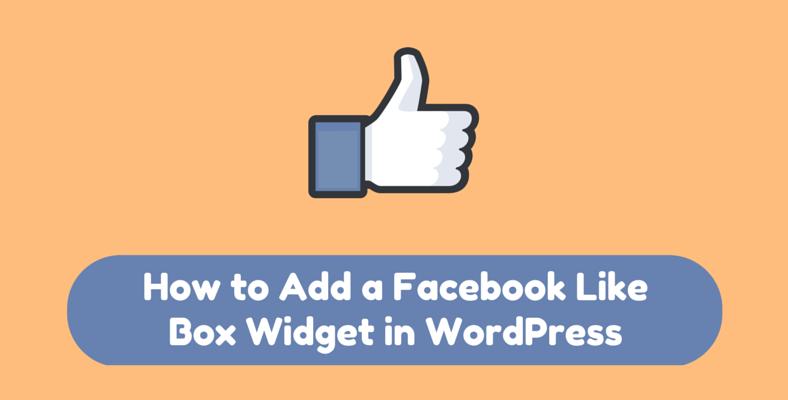 how to add a facebook Like box widget in WordPress