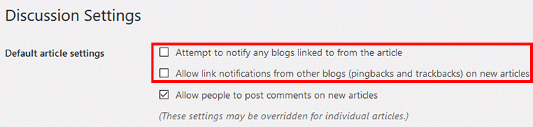 WordPress default article settings
