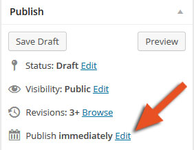 edit wordpress publishing options