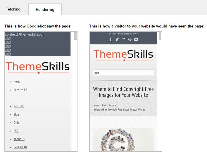 google webmaster tools rendering