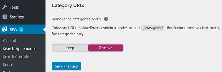 remove category urls yoast
