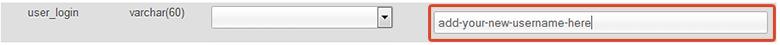 change wordpress username in phpmyadmin