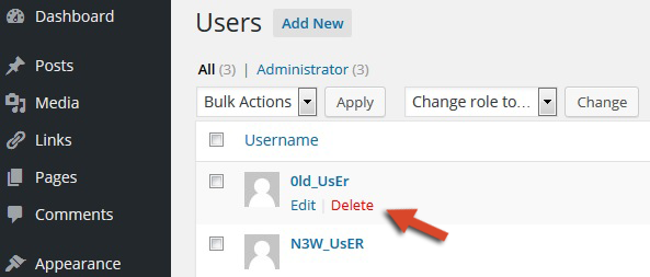 how to delete users in wordpress