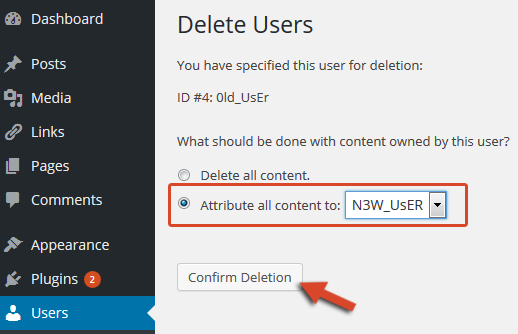 delete users in wordpress