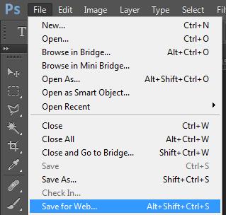 photoshop save for web option