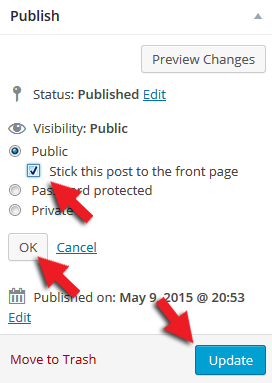 how to create WordPress sticky posts