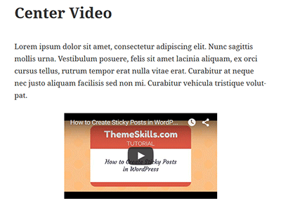 Centered YouTube Video in WordPress