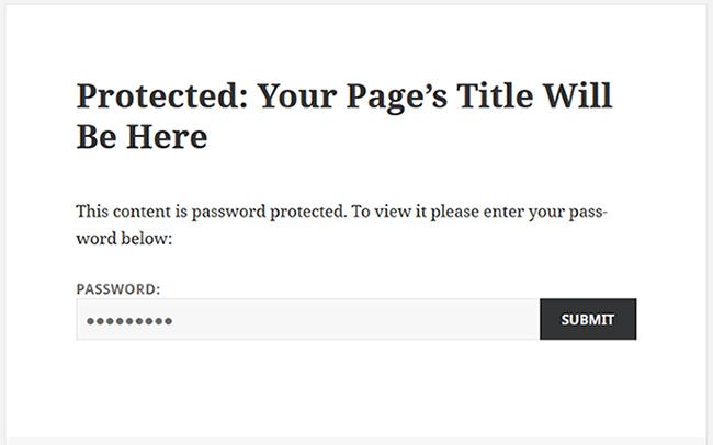 Password protected WordPress page
