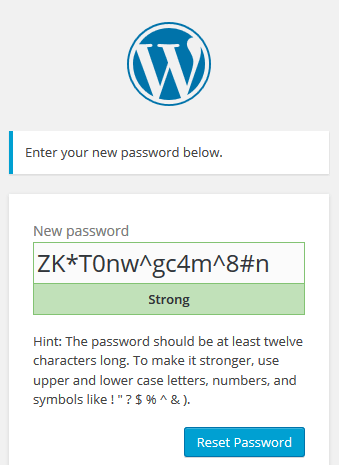 WordPress user password reset