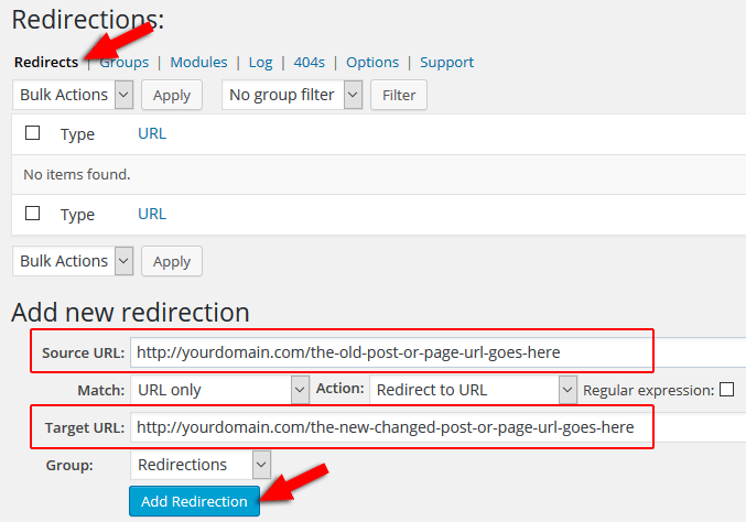 redirect url in wordpress with redirection plugin