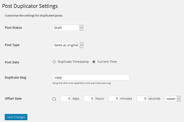 Post Duplicator plugin settings