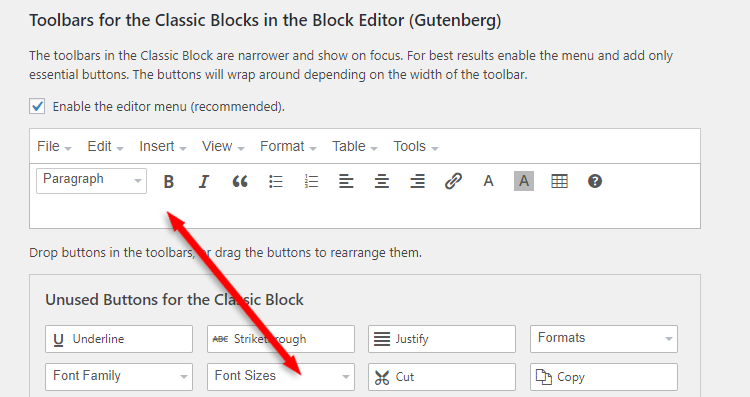 add font sizes button into tinymce advanced toolbar