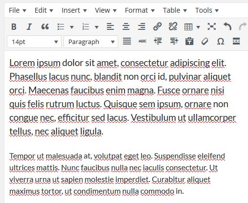 Font size in WordPress