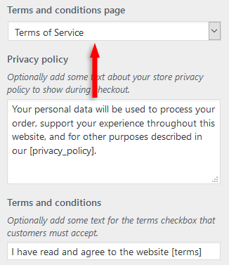 add woocommerce terms and conditions checkbox