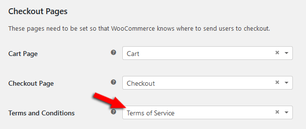 WooCommerce checkout pages settings