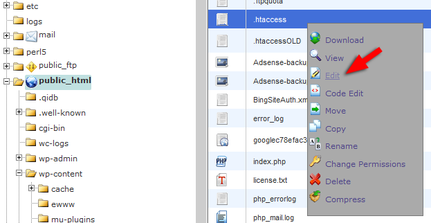 .htaccess cPanel WordPress