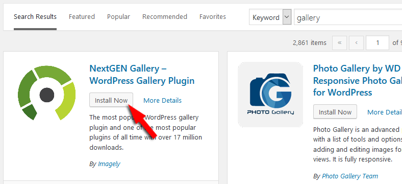 Install plugins WordPress using plugins search
