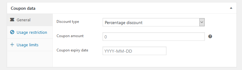WooCommerce coupon data