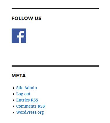 Facebook social icon in a WordPress sidebar widget