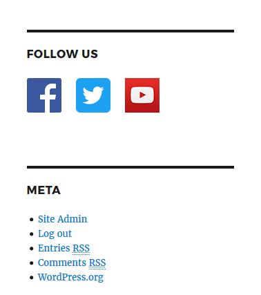 WordPress widget social icons