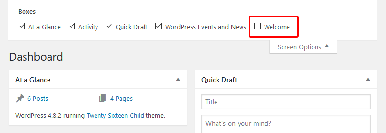 Remove boxes from WordPress Dashboard
