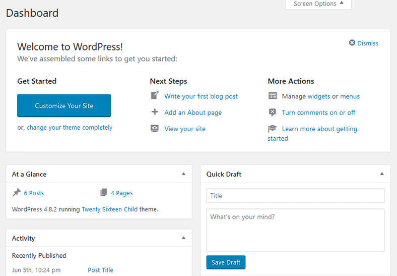 WordPress Dashboard Boxes