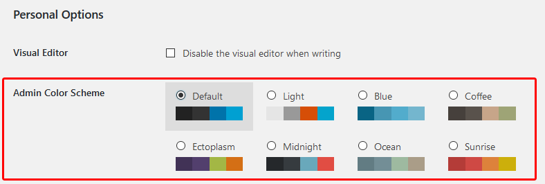 Change WordPress admin color scheme