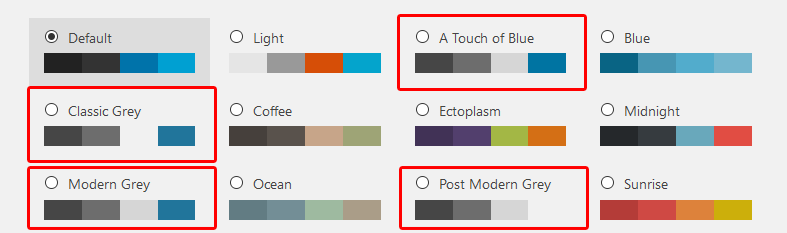 Grey Admin Color Schemes plugin