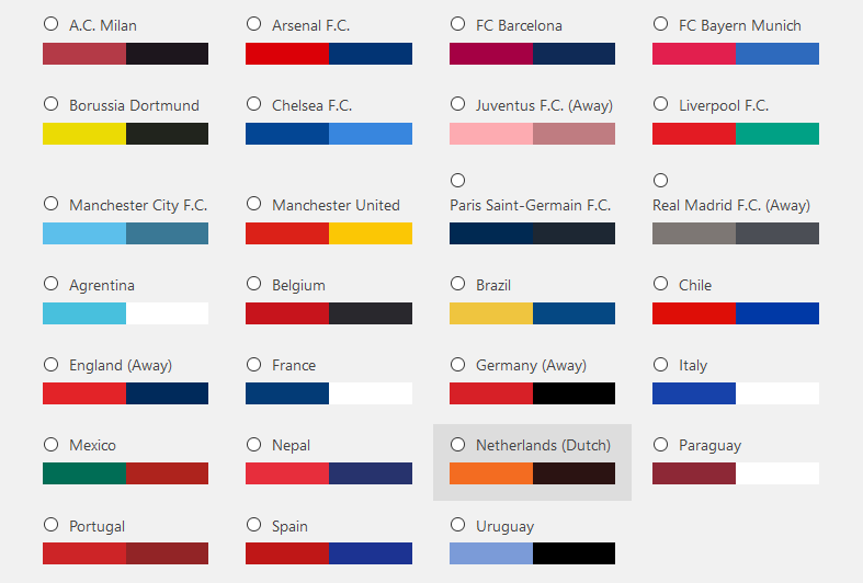 W2O Football Fans Admin Color Schemes