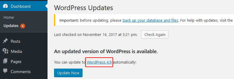 wordpress changelog link