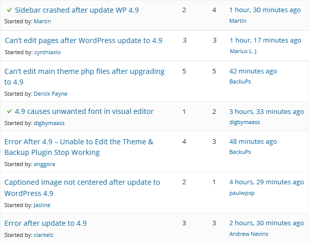 WordPress update support forum