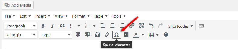 WordPress Special Character button
