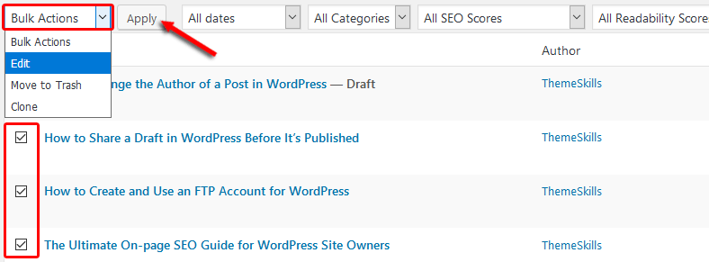 Edit multiple posts in WordPress