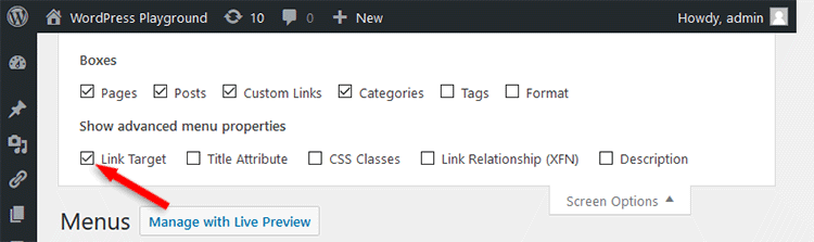 WordPress menu Link Target