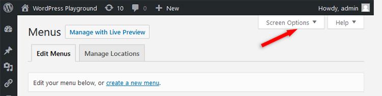 WordPress menu Screen Options