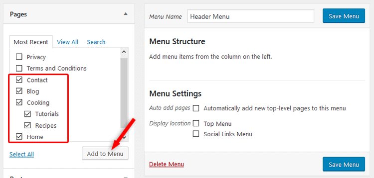 Add items to the WordPress menu