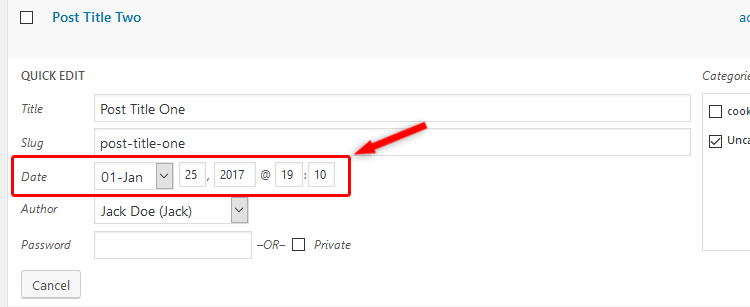 Change WordPress post date quick edit