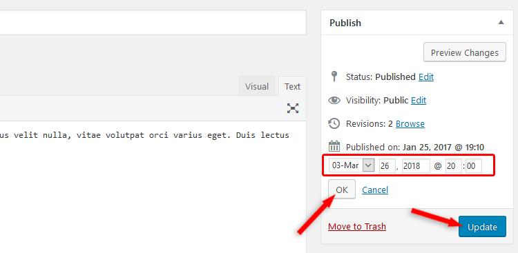 Change WordPress post date