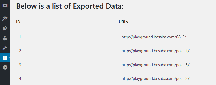 Export WordPress URLs in plain text