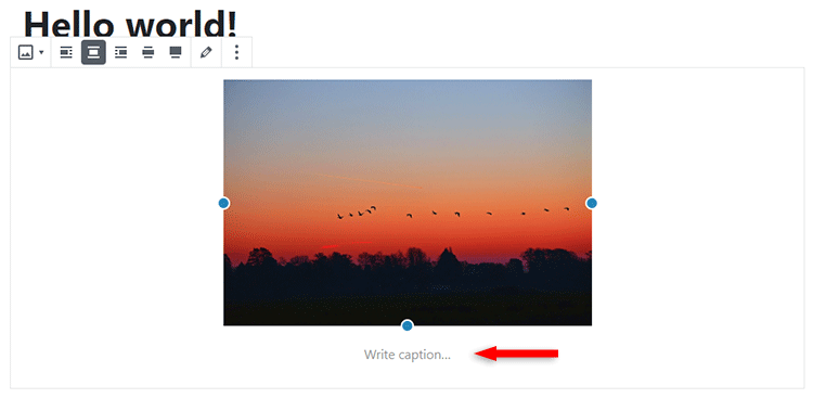 add caption to images in gutenberg