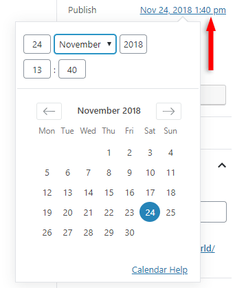 change post date in gutenberg