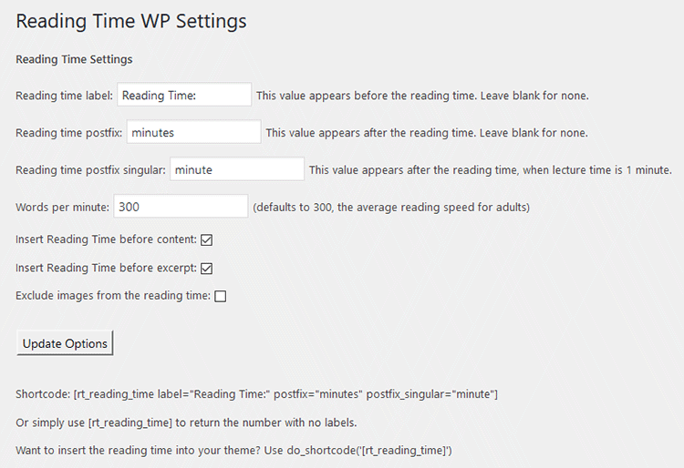 Rading Time WP settings