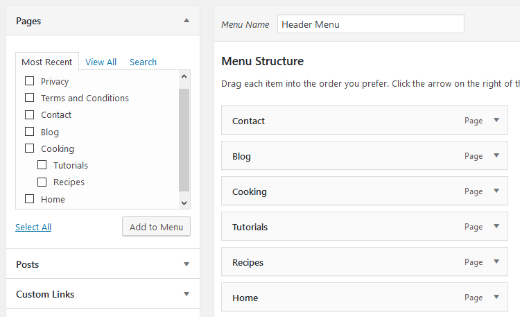 WordPress menu items