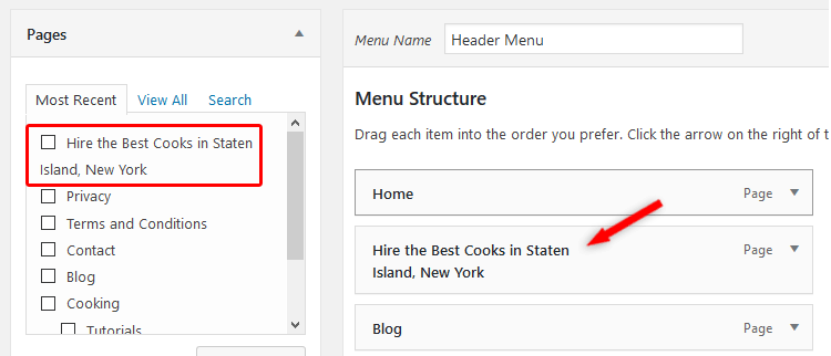 WordPress menu title back-end