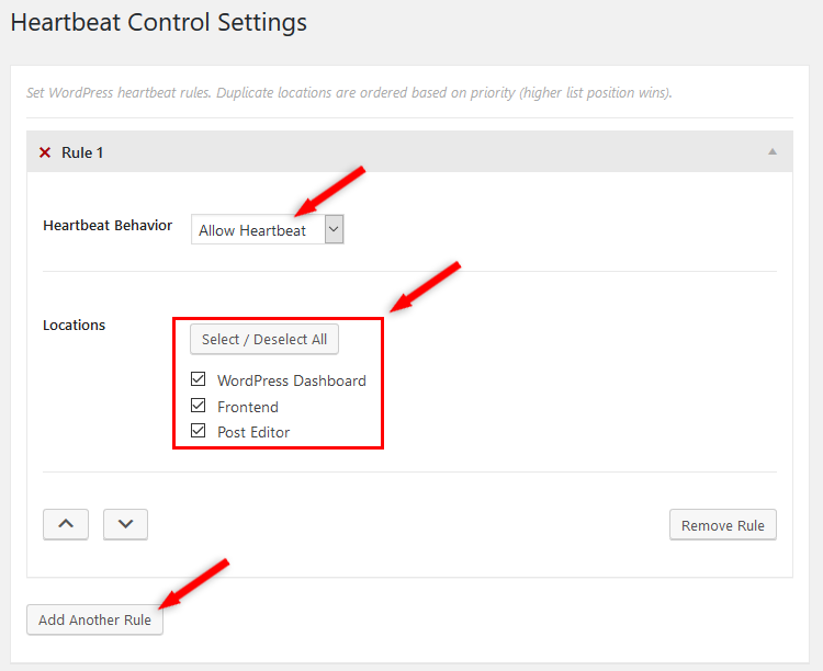 heartbeat control plugin settings